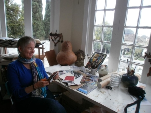 Carolyn working in her studio